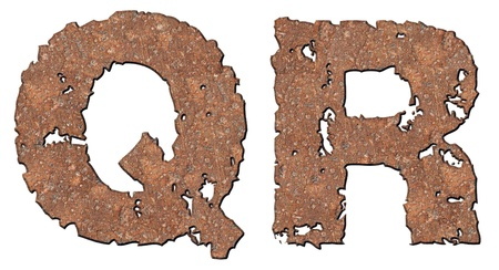 holed: Rusty letters with torn edge isolated on white background (series).