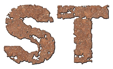 Rusty letters with torn edge isolated on white background (series). Stock Photo - 10348860