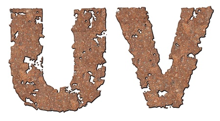 torn metal: Rusty letters with torn edge isolated on white background (series).