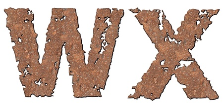 Rusty letters with torn edge isolated on white background (series). photo