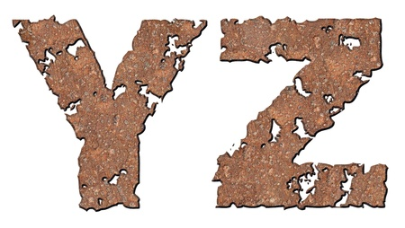 Rusty letters with torn edge isolated on white background (series). Stock Photo - 10348861