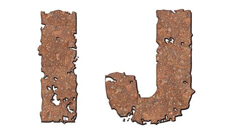 Rusty letters with torn edge isolated on white background (series). Stock Photo - 10348859