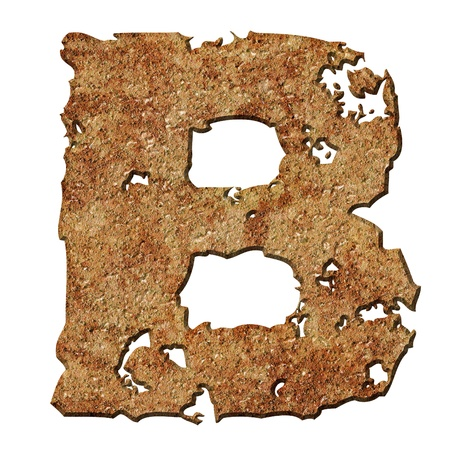 Rusty letters with torn edge isolated on white background (series). Stock Photo - 10359715