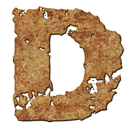 Rusty letters with torn edge isolated on white background (series). Stock Photo - 10359714