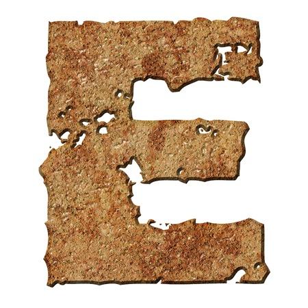 oxidado: Letras oxidado con bordes rasgados aisladas sobre fondo blanco (serie).