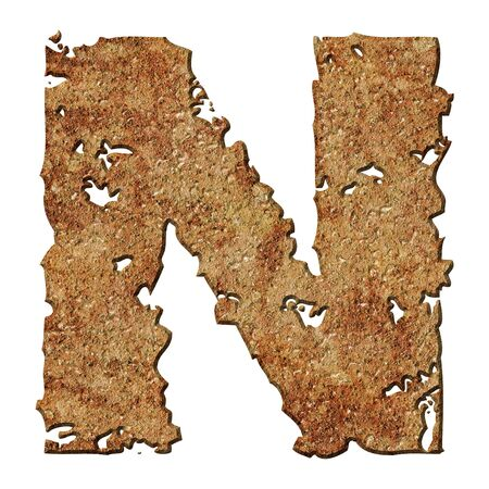 corroded: Rusty letters with torn edge isolated on white background (series).