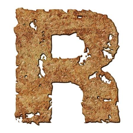 Rusty letters met gescheurde rand geïsoleerd op witte achtergrond (serie).