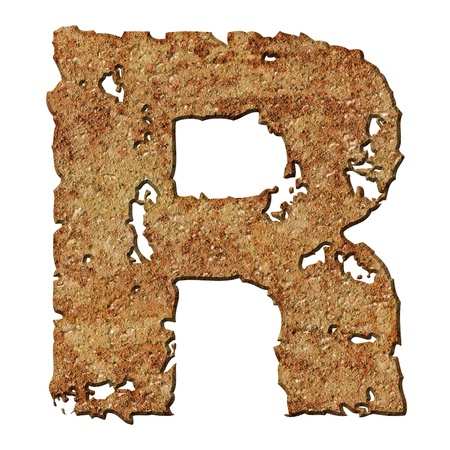 Rusty letters with torn edge isolated on white background (series). Stock Photo - 10359713