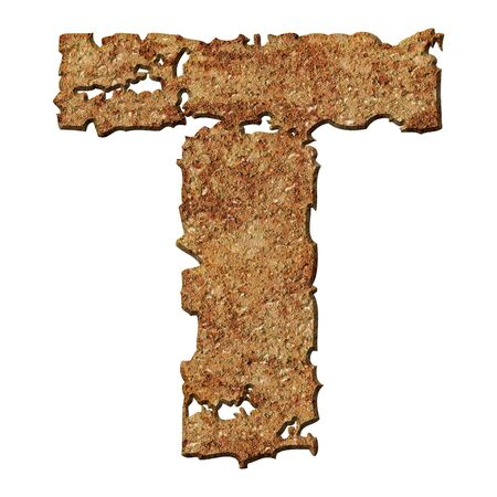 torn edge: Rusty letters with torn edge isolated on white background (series).