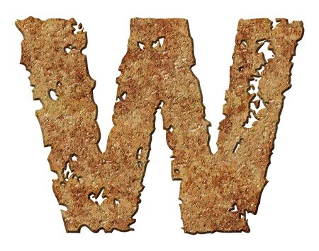 rusted: Rusty letters with torn edge isolated on white background (series).