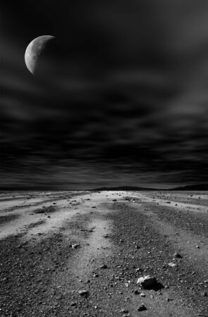 Night stony desert with moon and black sky. photo