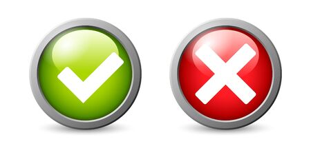 Yes, No vector icon set isolated on white background.