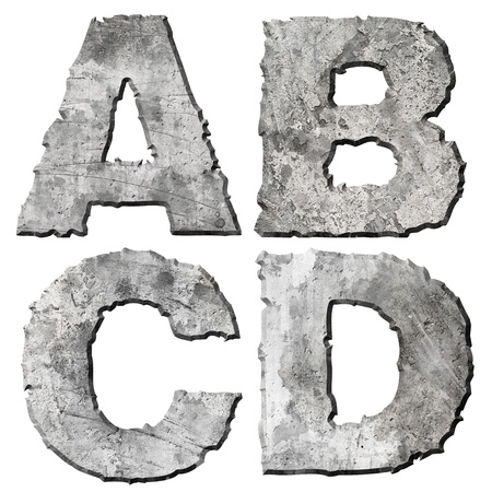 alphabetic: Stone letter with torn edge isolated on white background (series). Stock Photo