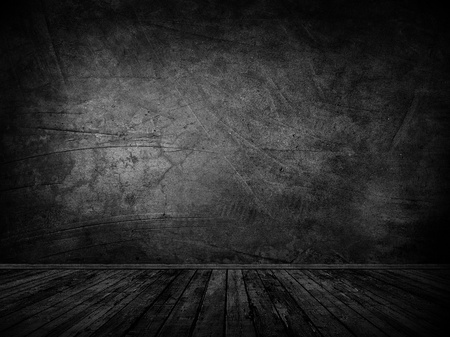 black grunge background: Wall and floor stage background. Stock Photo