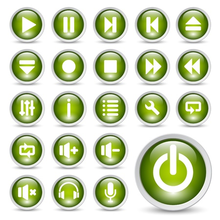 shiny button: Classic media player buttons icon set. Illustration