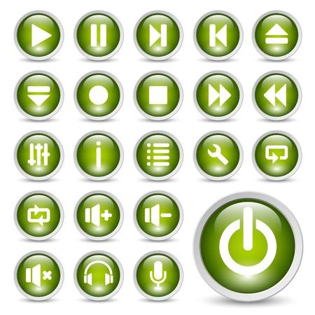 Conjunto de iconos de botones de jugador de medios clásicos.