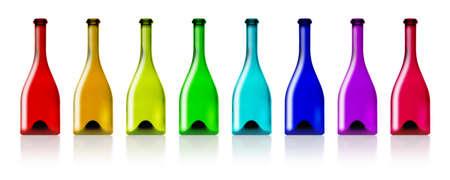 unlabeled: Colorful bottles set isolated on white background. Stock Photo