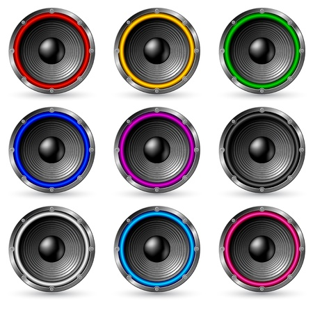 loud speaker: Colorful speakers set isolated on white background. Illustration