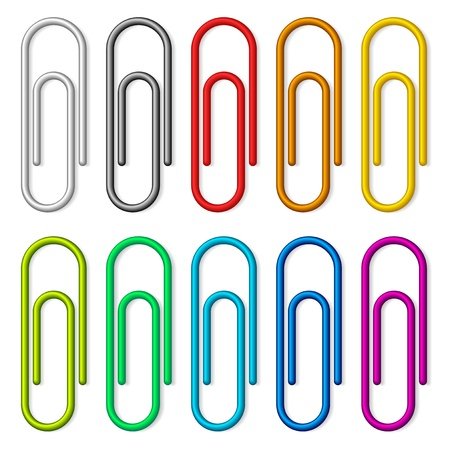 paperclip: Colorful paper clips set isolated on white background.