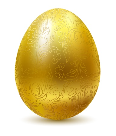 glassed: Gold egg with floral ornate isolated on white background.