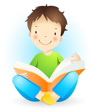 classmate: Reading boy. Illustration