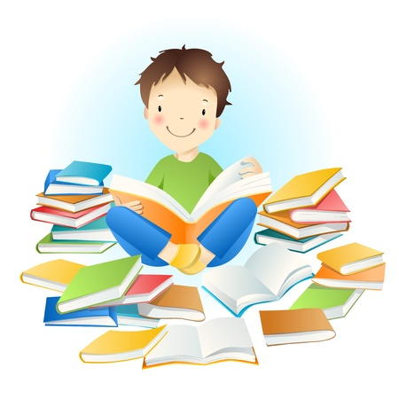 naughty child: Little amusing boy and books. Illustration
