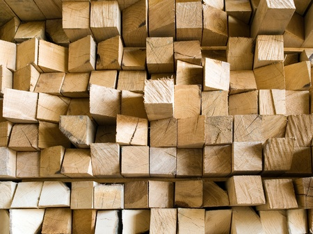 wooden beams: Squared beam closeup background. Stock Photo