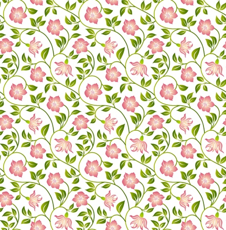 floral fabric: Floral seamless background - pattern for continuous replicate. See more seamless backgrounds in my portfolio. Illustration