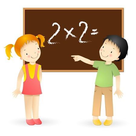 task: Little girl and boy by blackboard isolated on white background.