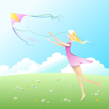 gambol: Girl fly a kite. Illustration