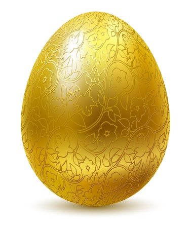 Gold egg with floral ornate isolated on white background.