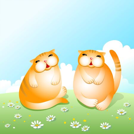 corpulent: Two thick amusing cats.
