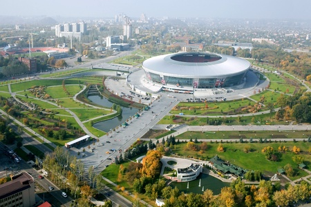 DONETSK, UKRAINE - OCTOBER, 11: Donbass Arena stadium - aerial view. The stadium FC Shakhtar Donetsk, which will run competitions UEFA EURO 2012.