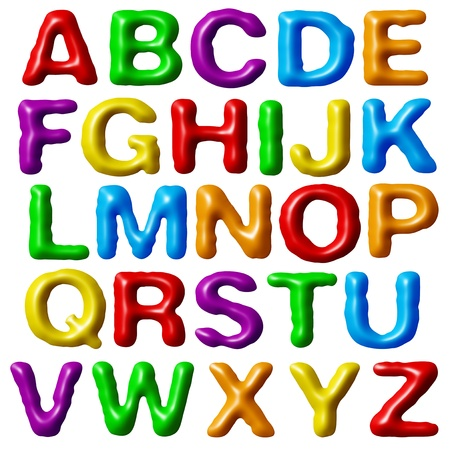 Plasticine alphabet isolated on white background. photo