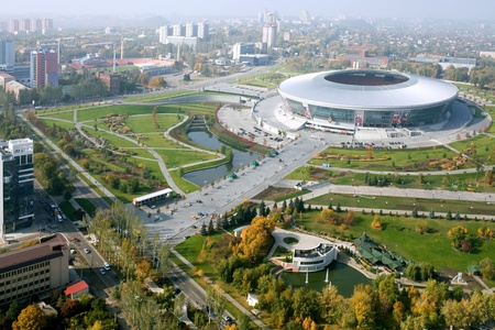 donbass: DONETSK, UKRAINE - OCTOBER, 11: Donbass Arena stadium - aerial view. The stadium hosts Football Club Shakhtar Donetsk and will host UEFA EURO Championship in 2012.