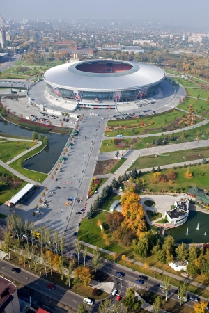 DONETSK, UKRAINE - OCTOBER, 11: Donbass Arena stadium - aerial view. The stadium hosts Football Club Shakhtar Donetsk and will host UEFA EURO Championship in 2012.