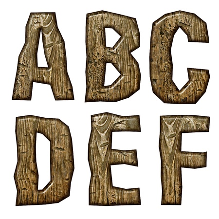 Wooden alphabet isolated on white background. photo