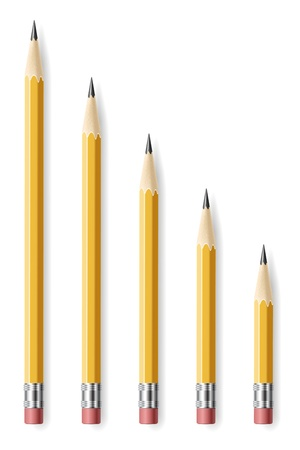 sharpen: Lead pencils various length on white background.