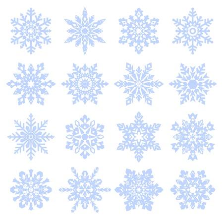 Various snowfllakes set isolated on white background.