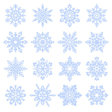 Various snowfllakes set isolated on white background. Vector