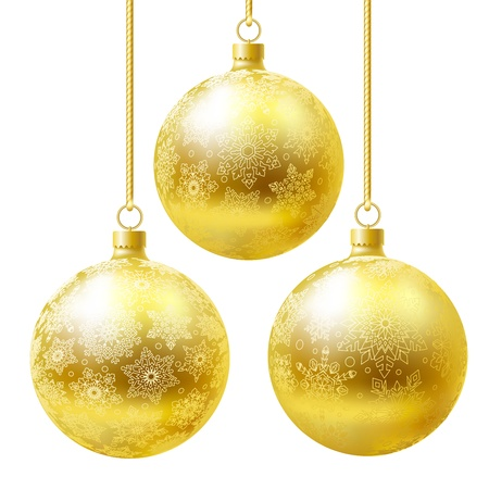 goldish: Golden balls set isolated on white background.