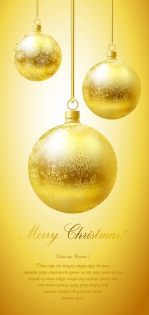 goldish: Merry Christmas greeting card with golden flaring balls.