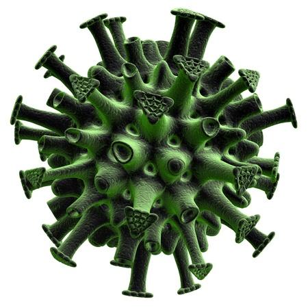 Green virus isolated on white background. Standard-Bild