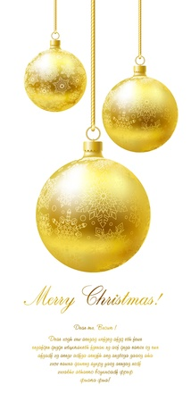 goldish: Merry Christmas greeting card with golden flaring balls on white background.