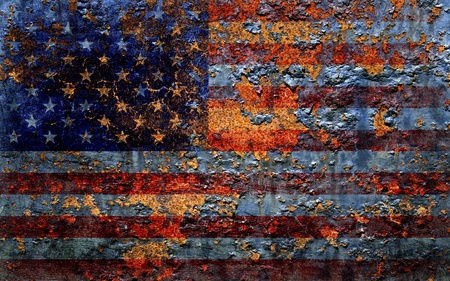 metal corrosion: American flag background.