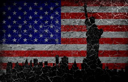 Silhouette statue of liberty on grunge american flag background. photo