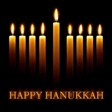 Vecteur Hanoucca heureux carte de voeux avec des bougies sur fond noir. Banque d'images - 11662571