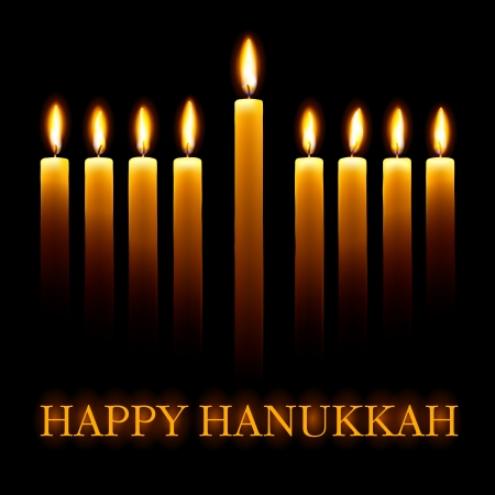 Vector Happy Hanukkah greeting card with candles on black background. Vector