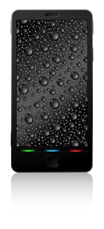 Téléphone intelligent noir isolé sur fond blanc. Vecteurs