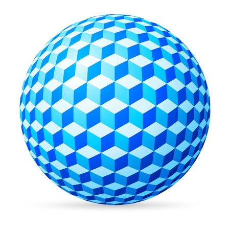 fisheye: Blue spherical cubes on white background.